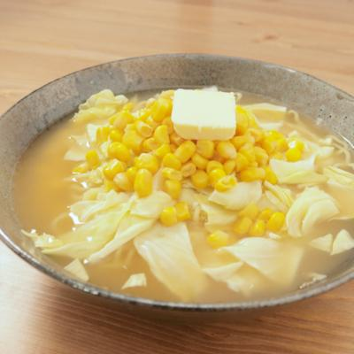 スープはレンジで 簡単みそバターラーメン