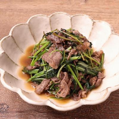 みぶ菜と牛肉の甘辛炒め