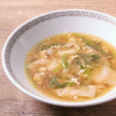 生姜の効いた包まない鶏ひき肉ワンタンスープ