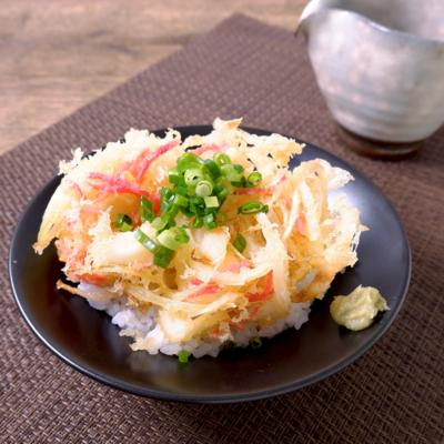 紅生姜がポイント 天ぷら茶漬け