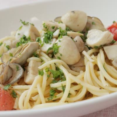 マッシュルームと牡蠣のアヒージョスパゲティ