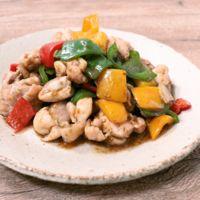 ピーマンと鶏肉の海苔の佃煮炒め