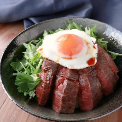 ステーキ肉で和風ロコモコ丼