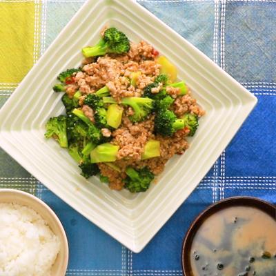 ブロッコリーと豚ひき肉のピリ辛中華炒め