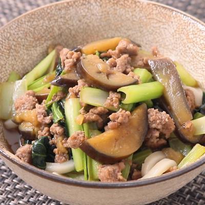小松菜とナスのひき肉あんかけうどん