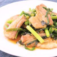 豚バラとニンニクの芽のスタミナ抜群中華炒め