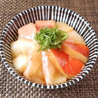 めんつゆで簡単 海鮮漬け丼