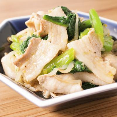 小松菜と豚バラ肉のナムル