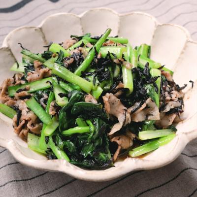 ひじきたっぷり 豚バラ肉と小松菜の炒め物