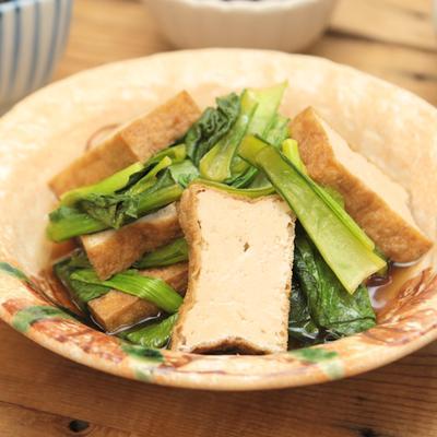 レンジで簡単 小松菜と厚揚げのめんつゆ煮浸し