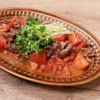 牛肉とトマトのごまポン炒め