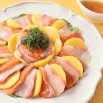 お刺身と柿のカルパッチョ風サラダ