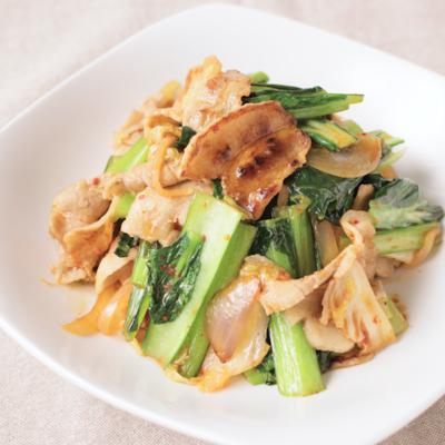小松菜と豚バラのキムチ炒め