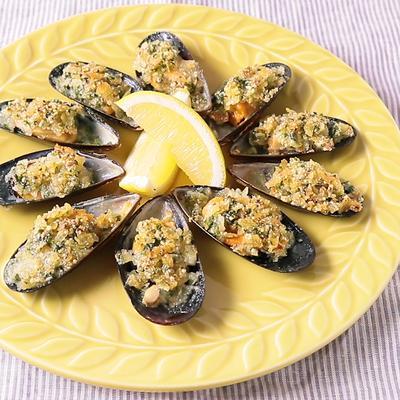 ムール貝の香草ポテトチップス焼き