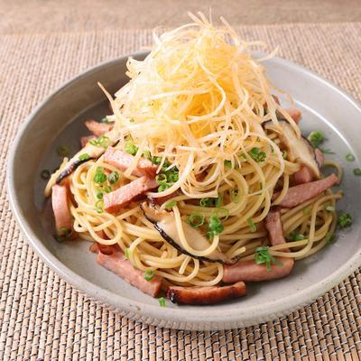 焼き豚と長ねぎの中華風パスタ