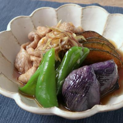 彩り野菜と豚肉の揚げ浸し