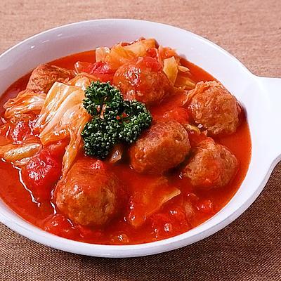 ミートボールとキャベツのトマト煮