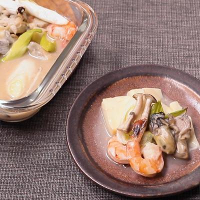 オーブンで作る 魚介と豆腐の白味噌煮