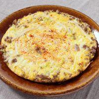 チーズたっぷり もやしとキャベツのオープンオムレツ