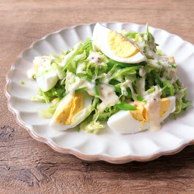 絹さやと春キャベツと卵のマヨサラダ