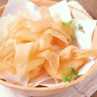 リボン巾着のハムチーズ春巻き