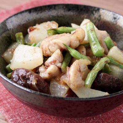 鶏肉と大根の梅かつお風味炒め