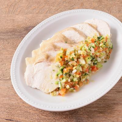 イタリアンソースでたっぷり野菜の蒸し鶏