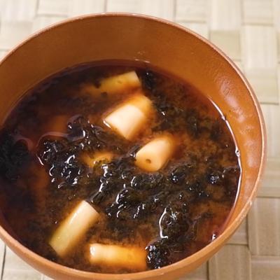 磯の風味 根曲がり竹とあおさの味噌汁