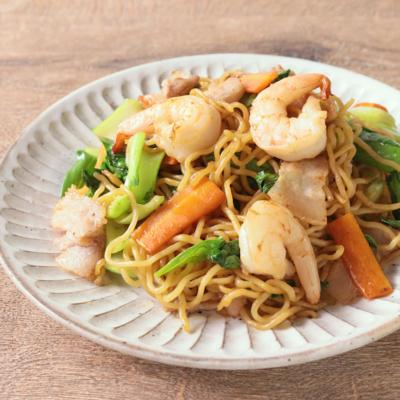 青梗菜とエビの簡単上海焼きそば