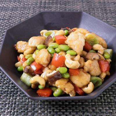 鶏ささみと枝豆のカシューナッツ炒め