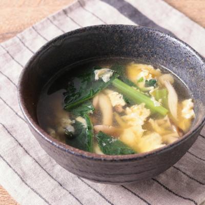 小松菜としめじのたまごスープ