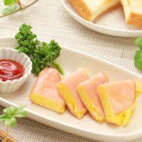 簡単副菜 卵のハム包み焼き