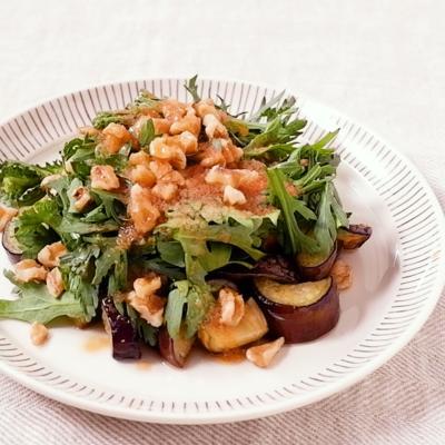 ナスと春菊の明太ドレッシングサラダ