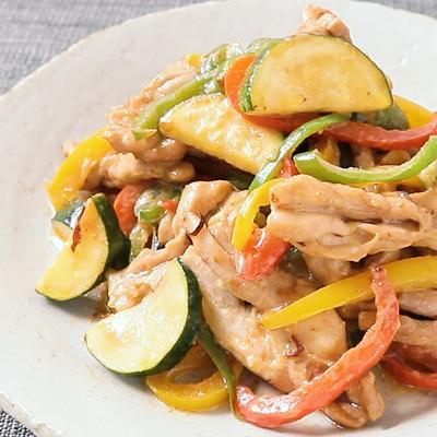 鶏せせりと彩り野菜のマヨぽん炒め