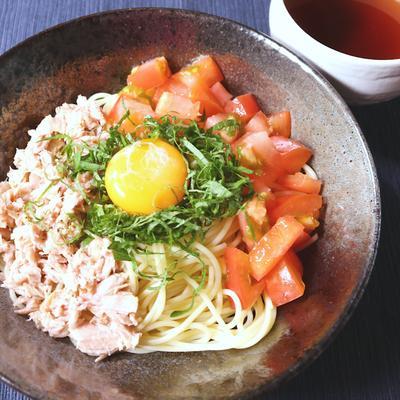 つけ麺で 和風卵かけスパゲティ