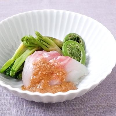 鯛と和野菜のごま酢がけ