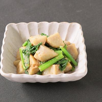 レンジで簡単 里芋と小松菜のごまみそ和え