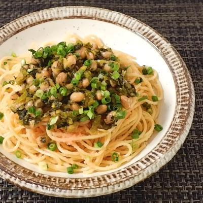 納豆と高菜の明太子スパゲティ