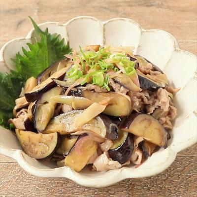 ナスと豚バラ肉の梅肉炒め