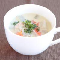 角切り根菜の豆乳スープ