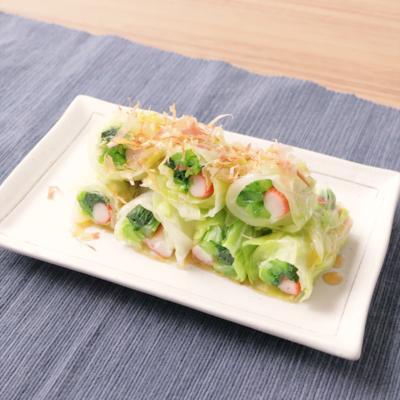 キャベツと小松菜のくるくる巻き
