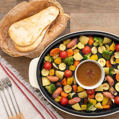 ホットプレートで 夏野菜のカレーフォンデュ