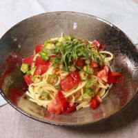 オクラとトマトのさっぱりスパゲティ