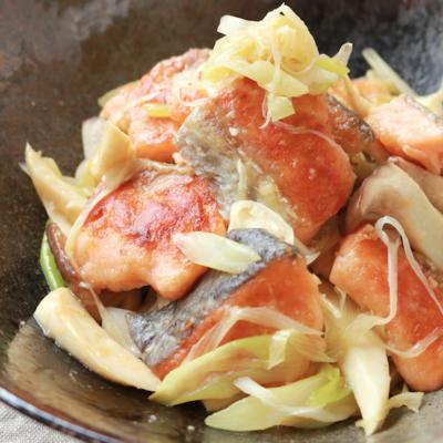 鮭とエリンギのねぎ塩炒め