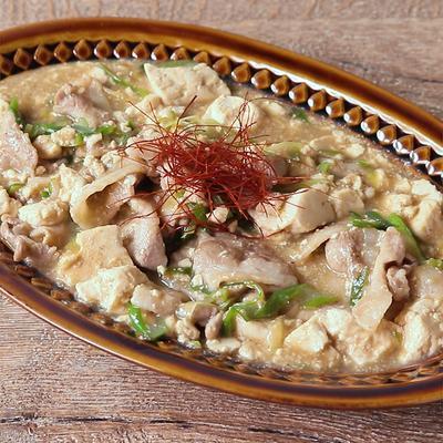 くずし豆腐と豚肉の花椒あんかけ
