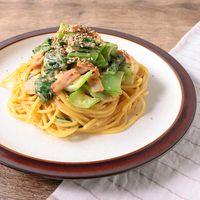 チンゲン菜とベーコンの韓国風カルボナーラ