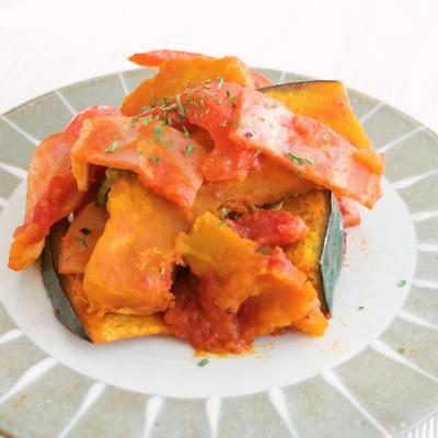 レンジで作る かぼちゃとパプリカのトマト煮