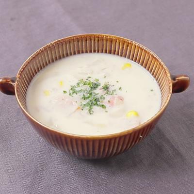 レンコンのすり流し汁で 洋風ミルクスープ