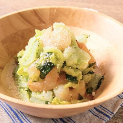 電子レンジで 白菜と海老のバジル和え