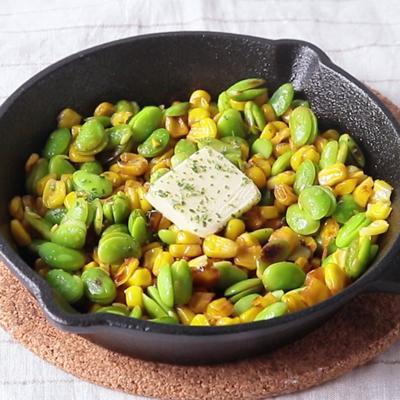 枝豆とコーンのバター醤油焼き
